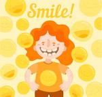 橙发笑脸女孩矢量