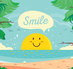 大海中的笑脸太阳