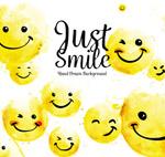 水彩绘黄色笑脸
