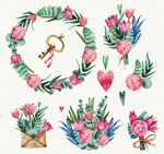 彩绘粉色花束和花环