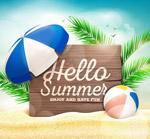 你好夏季沙滩木牌风景