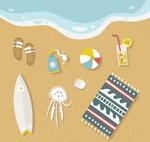 沙滩上的夏季物品