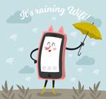 创意撑伞的手机