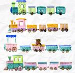 褶皱纸张上的玩具火车