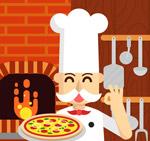端披萨的厨师矢量