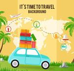 旅行地图和车辆