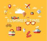 夏季时光图标矢量