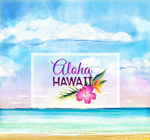 夏威夷大海和花卉