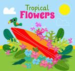 热带花卉和冲浪板