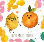 拉手的橙子和柠檬