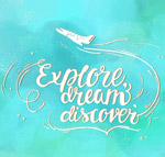 飞机旅行隽语艺术字