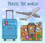 创意飞机和行李箱