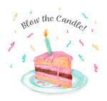 插着蜡烛的三角蛋糕