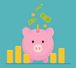 猪存钱罐和金币堆