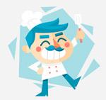 笑脸蓝发厨师