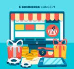 电脑和网上购物元素