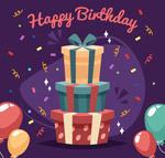 生日派对礼盒和气球