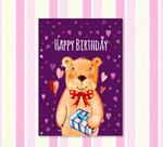 彩绘熊生日贺卡
