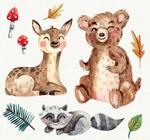 水彩绘微笑森林动物