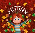 秋季女孩和落叶