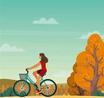 郊外骑单车的女子