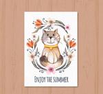 猫咪和花卉卡片