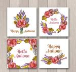 秋季花束和花环卡片