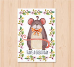老鼠和花卉卡片