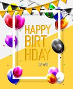气球边框生日贺卡