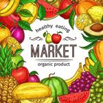 彩绘水果市场海报