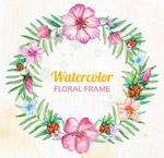 水彩绘花卉圆环
