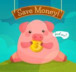 吃金币的储蓄罐猪