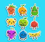 彩色表情水果贴纸