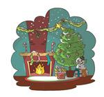 彩绘圣诞节客厅