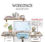 彩绘书房办公桌