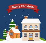 圣诞夜房屋和雪人