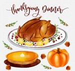 水彩绘感恩节食物
