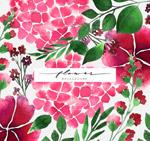 玫红色花卉无缝背景