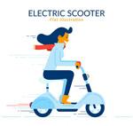 骑电动车的长发女子