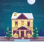 圣诞夜楼房矢量