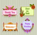 纸质婚礼标签矢量