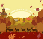 秋季鹿群剪影矢量
