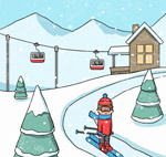 冬季滑雪场人物