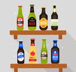 隔板上的8瓶啤酒