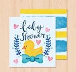 鸭子迎婴派对卡片