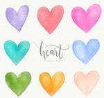8款水彩绘爱心