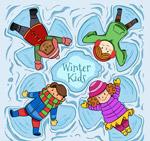 雪地玩耍的儿童