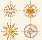 手绘古老指南针