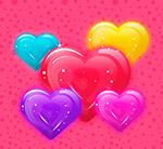 彩色果冻质感爱心