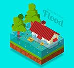 洪灾中的房屋